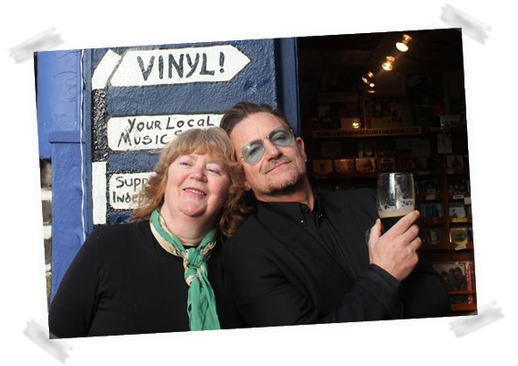 Bono visits Dingle Record Shop with Mazz O Flaherty